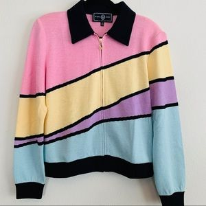 St. John Sport Knit Zip Up Color Block Cardigan
